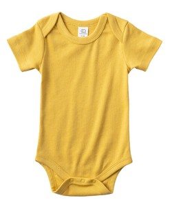 colored 100 Organic Cotton Short Sleeve Baby Suits Tuscany Mustard
