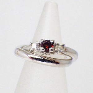 Silver 925 Made in Japan Diamond Garnet Baby Ring Necklace Birthstone