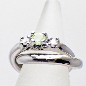 Silver 925 Diamond Peridot Baby Ring Necklace Birthstone