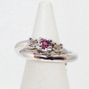 Silver 925 Diamond Pink Tourmaline Baby Ring Necklace Birthstone