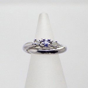 Silver 925 Diamond Tanzanite Baby Ring Necklace Birthstone