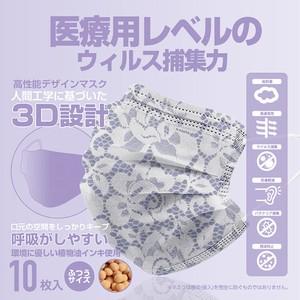 10枚 使い捨て不織布マスク マスク 夏マスク レース柄 プリント 日本語パッケージ