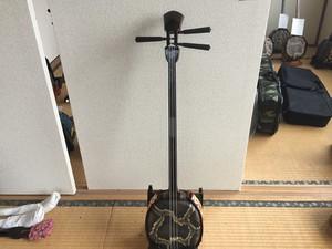 名人稲福洋仁作高級黒檀マカビ型スンチ仕上げ本皮8.5分張り 沖縄伝統楽器三線