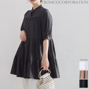 [2021 New Product] Band Color Tunic Blouse