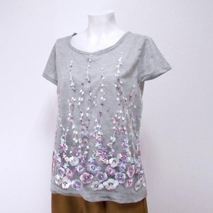 Floral Pattern Lace French Sleeve T-shirt