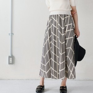 ギャザースカート 幾何学柄 スカート ロング ウエストゴム (01110045)