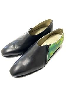 【受注生産】革靴 ファスナー切り替え バイカラー 黒ネイチャー柄
