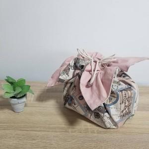 【旅サーモンピンクL】お弁当袋になっちゃうランチクロス Lサイズ(50x50センチ)
