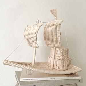 MACON ハンドメイド ラタン 帆船 オブジェ