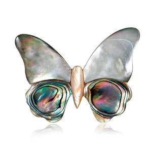 ブローチ 貝殻 蝶々