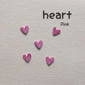 ミニハート 刺繍ワッペン ピンク