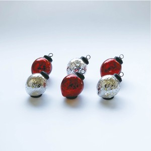 【予約販売】シャイニー シルバーアソート M 6個入り/クリスマスオーナメント グラスボール