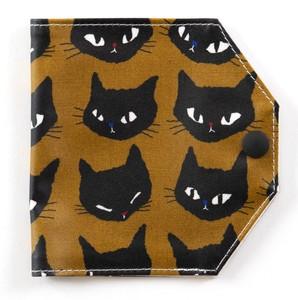 Kurabiマスクホルダーケース(ホック付き・両面ラミネート)ネコ柄【撥水加工】【日本製