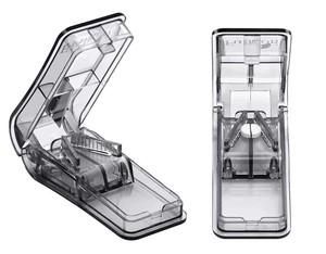 ピルカッター・錠剤カッター『灰色・透明2個セット』