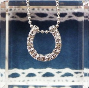 Silver 925 Good Luck Horseshoe Motif Diamond Pendant