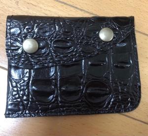 栃木レザークロコ型押しカードも入る小銭入れ日本製