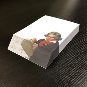 斜めカットメモブロック ベートーベン 「肖像画 」 メモ帳 一筆箋 アート 楽譜 ステーショナリー
