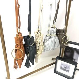 【人気商品】韓国ファッション レディース ショルダー 巾着デザイン リング金具 タッセル ギャザー加工