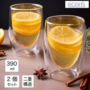 ワイングラス ダブルウォール 容量390ml 2個セット 耐熱ガラス 二重 コップ 食洗機対応 結露しにくい