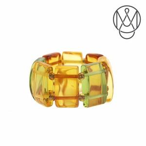 琥珀 リング 指輪 ストレッチリング マルチカラー 12mm x 6mm フリーサイズ AMBER