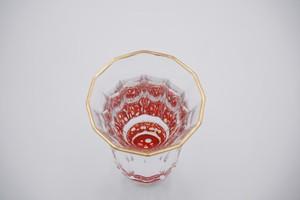 螺鈿ガラス  金杯(万華鏡) 水玉(貝入)朱  【日本製】【日本酒】【杯】