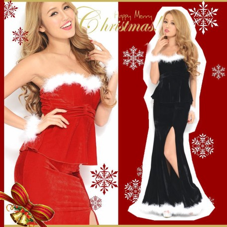 fb883dff265aa クリスマス*上質 CUTE SEXY!!ふわふわブレス付き♪2ピースペプラム ...