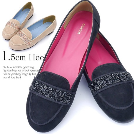 Heel Suede Bijou Fur Opera Pumps | Export Japanese products to the ...