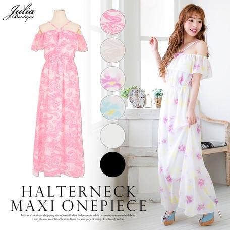 b0262b5f4ee3 One-piece Dress Off-Shoulder Chiffon Frill One-piece Dress | Export ...