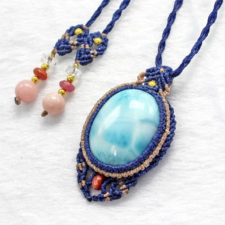 High Quality Macrame Pendant Necklace Natural Stone Power Stone