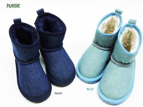 83e379e4cde6 2018 A W Denim Half Mouton Boots Kids Shoe Boys Girl 2 Colors ...