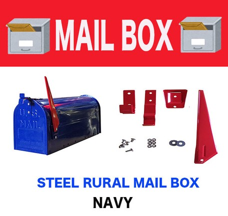 Mail Box Steel American Interior Storage Navy Ornament | Export