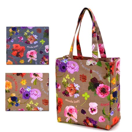 dbe38d6f3a08 Floral Pattern Tote Bag Checkered Flower