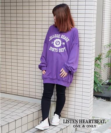 A/W Fleece College Print Big Sweatshirt Sweat | Export