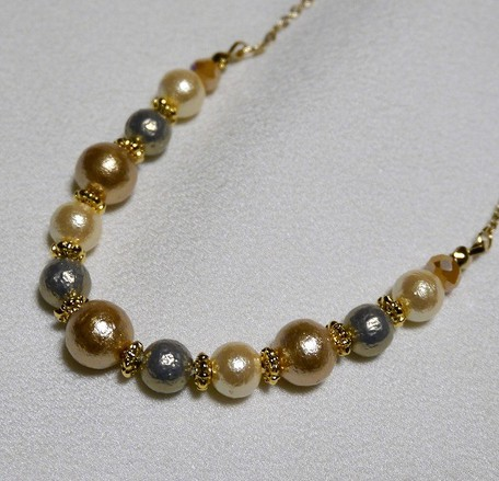 e5cbe64c36a074 Cotton Pearl Necklace Gold Silver | Export Japanese products to the ...