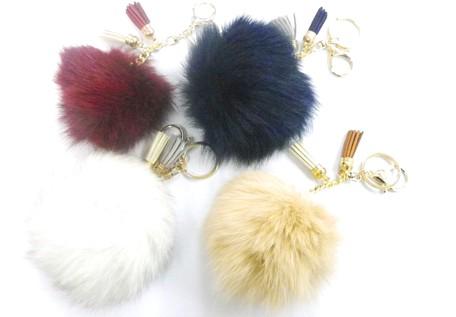 Real Fox Bag Charm Key Ring Tassel Color 4 Pcs 1 Set  a1b0dee4abe47