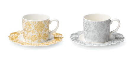 Damask Pair Cups Saucer | Export Japanese products to the