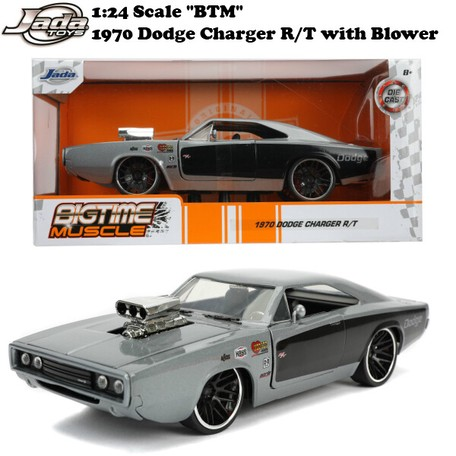 JADA 31668 BIGTIME MUSCLE 1970 DODGE CHARGER R//T with BLOWER 1//24 GREY BLACK